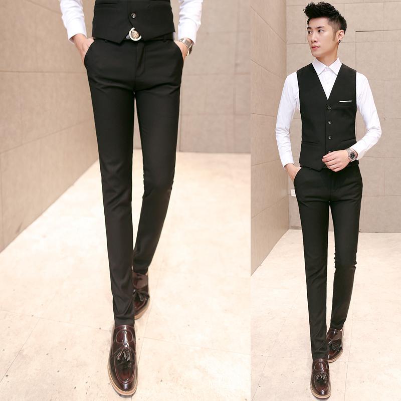 28911b48a37 2019 Wholesale New Arrival 2016 Business Casual Solid Color Suit Pants Men  Formal Dress Slim Pants Pantalon Homme Men S Clothing Size 28 40 XK3 From  Felix06 ...