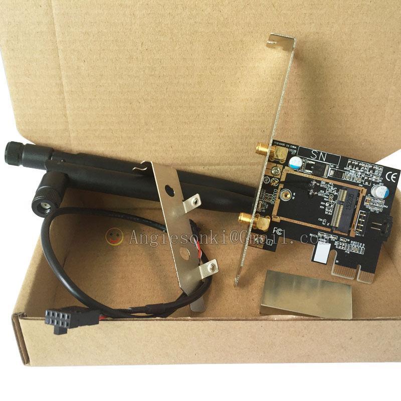 Wholesale- M 2/NGFF Wireless Card To PCI-e 1X Desktop WIFI WLAN CARD  Bracket for Intel 8260ac 7265ac 7260NGW 3160NGW Broadcom BCM4352Z