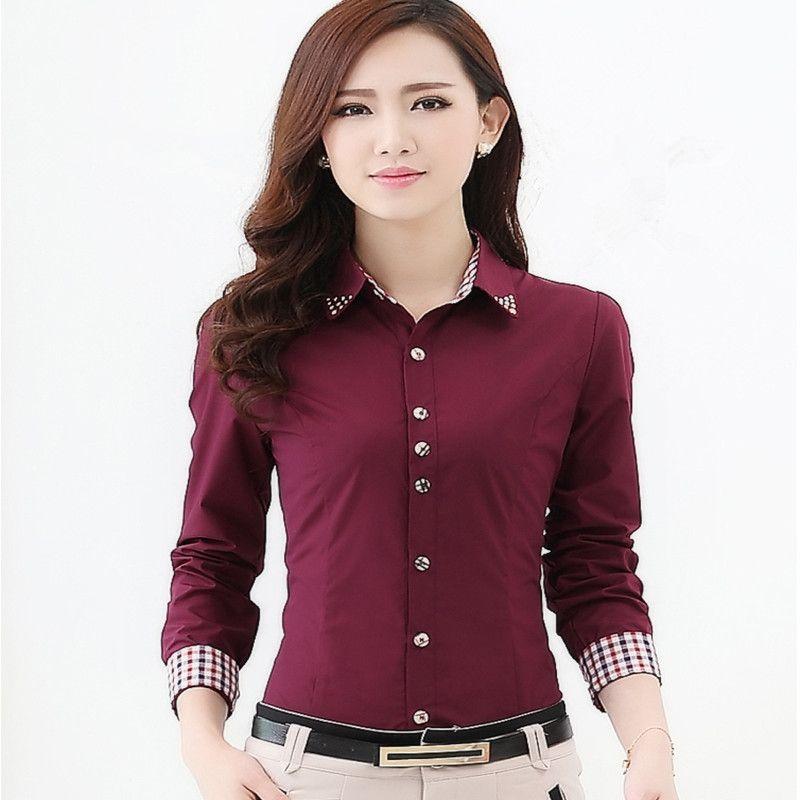 Europe Russie printemps femmes automne vêtements de carrière en tête blouse de bureau Chemise à manches longues dame blanche rouge coréenne Slim Coton Blend Workwear formelle