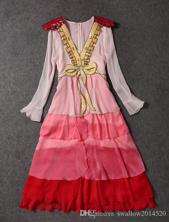Dulce tul rosa profundo-V lentejuela falbala cuello bowknot en capas pista vestido formal paillette gasa lentejuela boutique vestido gran espectáculo vestido completo