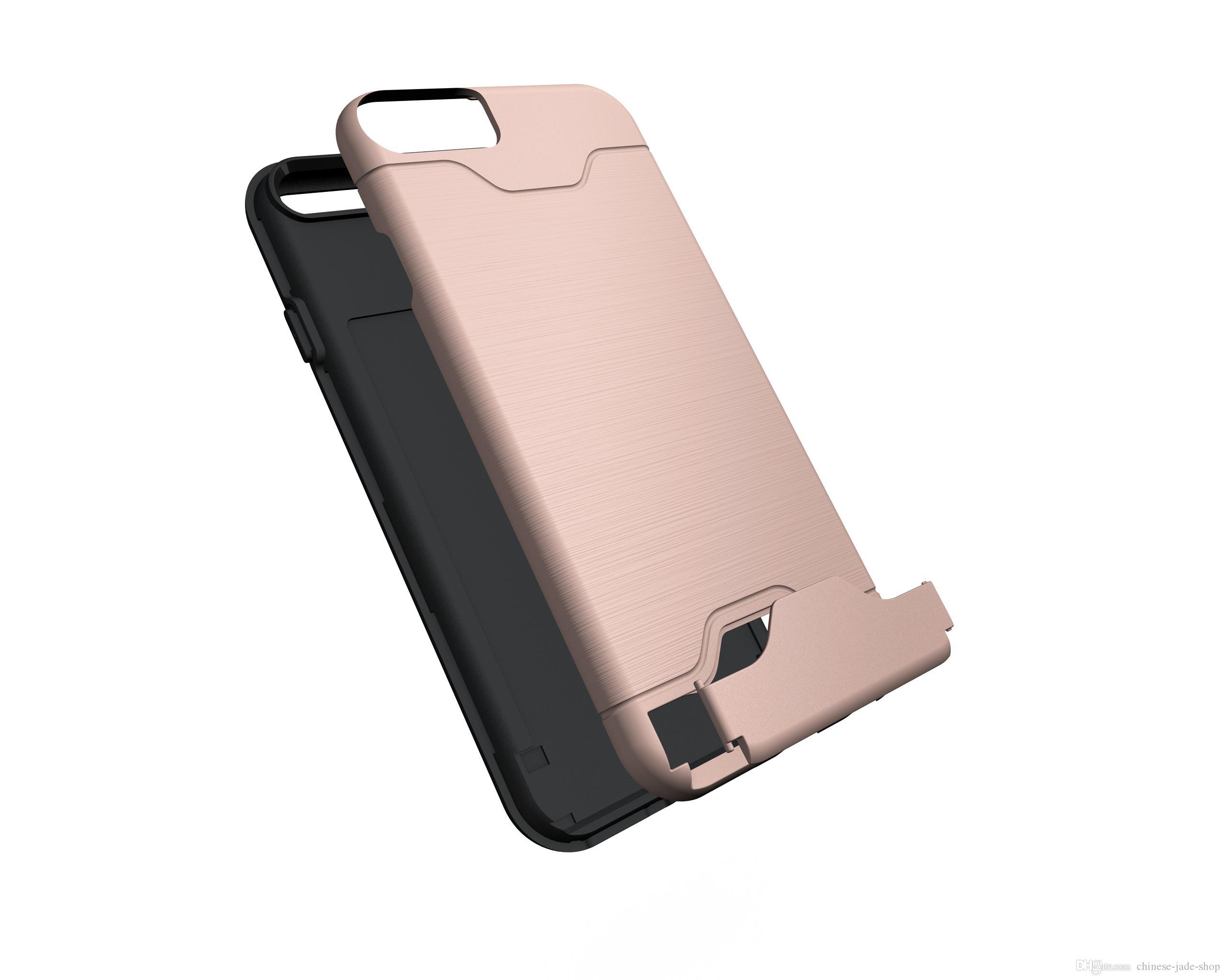 Hybrid Armor Geborsteld Houder Creditcard Pocket Cover Case Kickstand voor iPhone 11 PRO 11 PRO MAX 6 7 8 PLUS XR XS XS MAX / PARTIJ