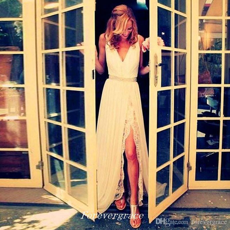 Boho Dantel Gelinlik Yüksek Kalite Uzun Yan Yarık şifon Sahil Kadınlar Gelin Elbise Custom Made Artı Boyutu Wear