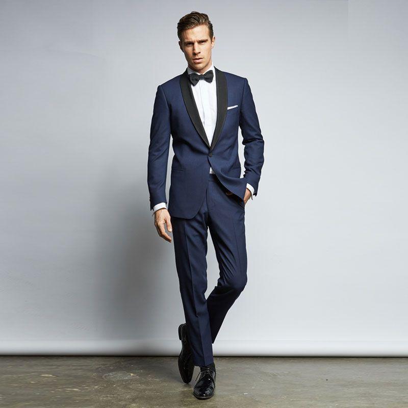 Ternos de casamento feitos sob encomenda dos homens do azul marinho com lapela  preta Slim Fit Tuxedo dos noivos do smoking de duas peças mais barato Prom  ... e702e24a6af