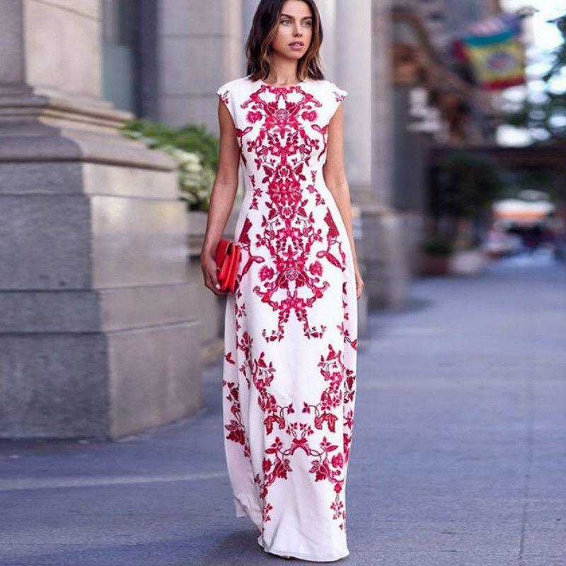 9fa6b3eeeec Sale 2017 New Summer Women Boho Floral Long Dress Lady Elegant Fashion Long  Maxi Print Dress Evening Party Dress Vestidos Longos Plus Size Summer  Dresses ...