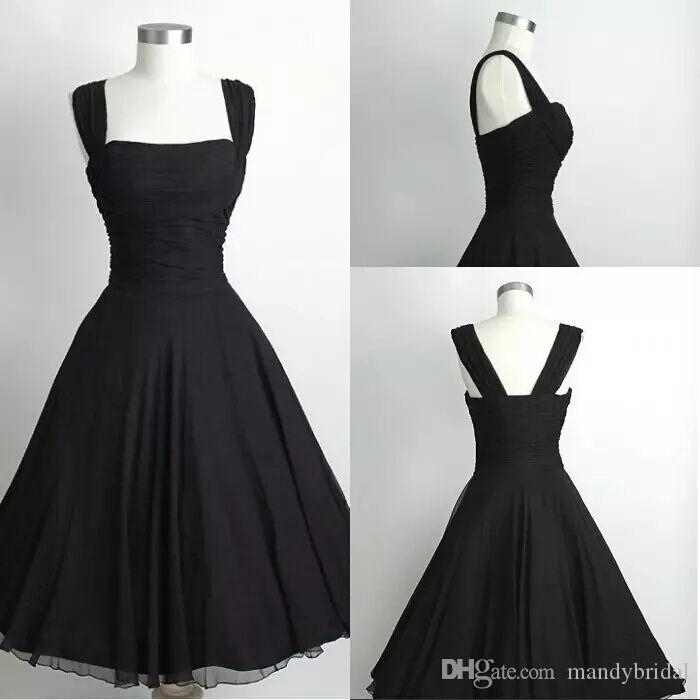 Vintage 1950s Prom Dresses Straps Cheap A Line Square Evening Gowns ...