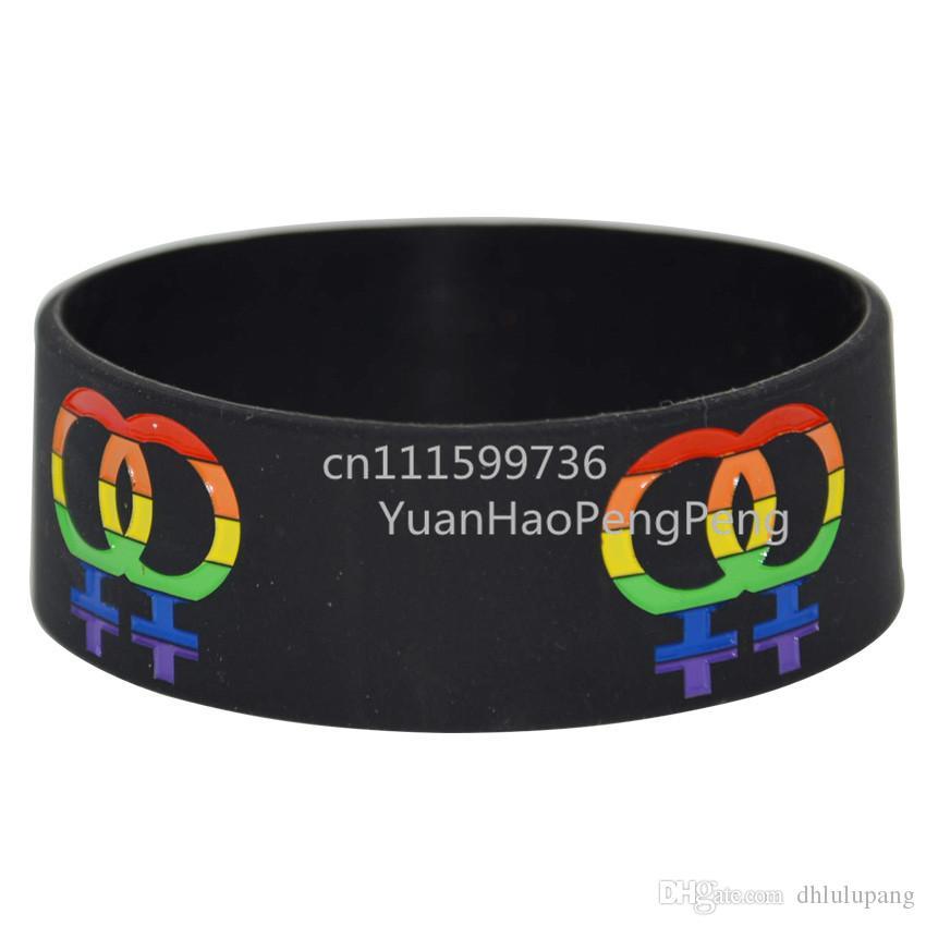 25 adet / grup 1 '' Geniş Gay Pride Silikon Bileklik Gökkuşağı Renkli Kadın Burcu Moda Kauçuk Bilezik