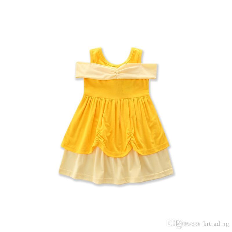 es niñas lindas princesa vestido niños lindos algodón falda chaleco blanco nieve Belle sirena ropa para 2-7T