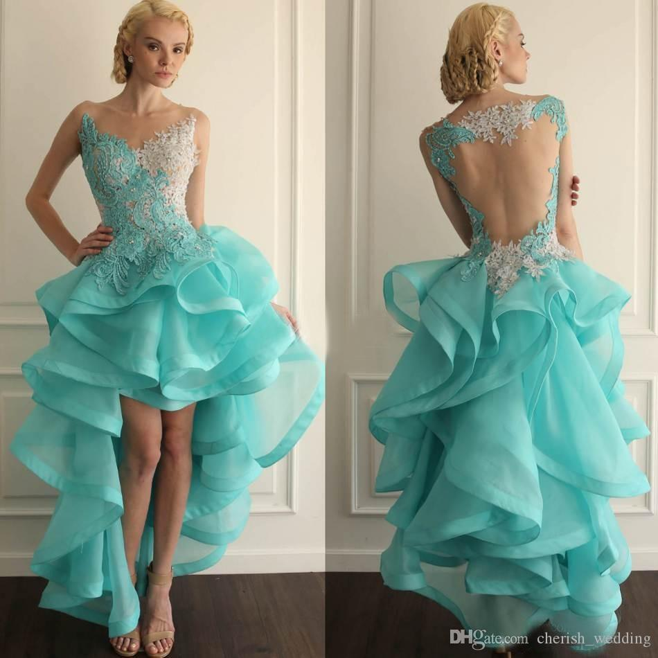Hi Lo Ball Gown 8th College Homecoming Dresses Sexy Mint Green ...