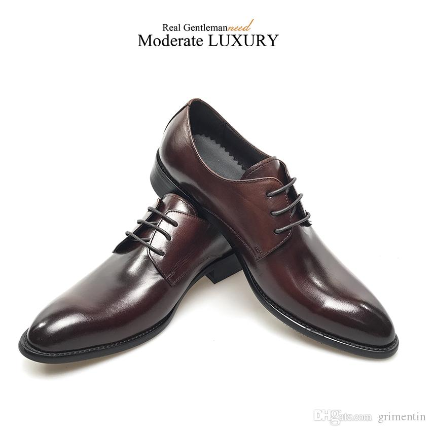 GRIMENTIN Hot sale high quality formal mens dress shoes Italian designer oxford shoes genuine leather wedding business male shoes new OM