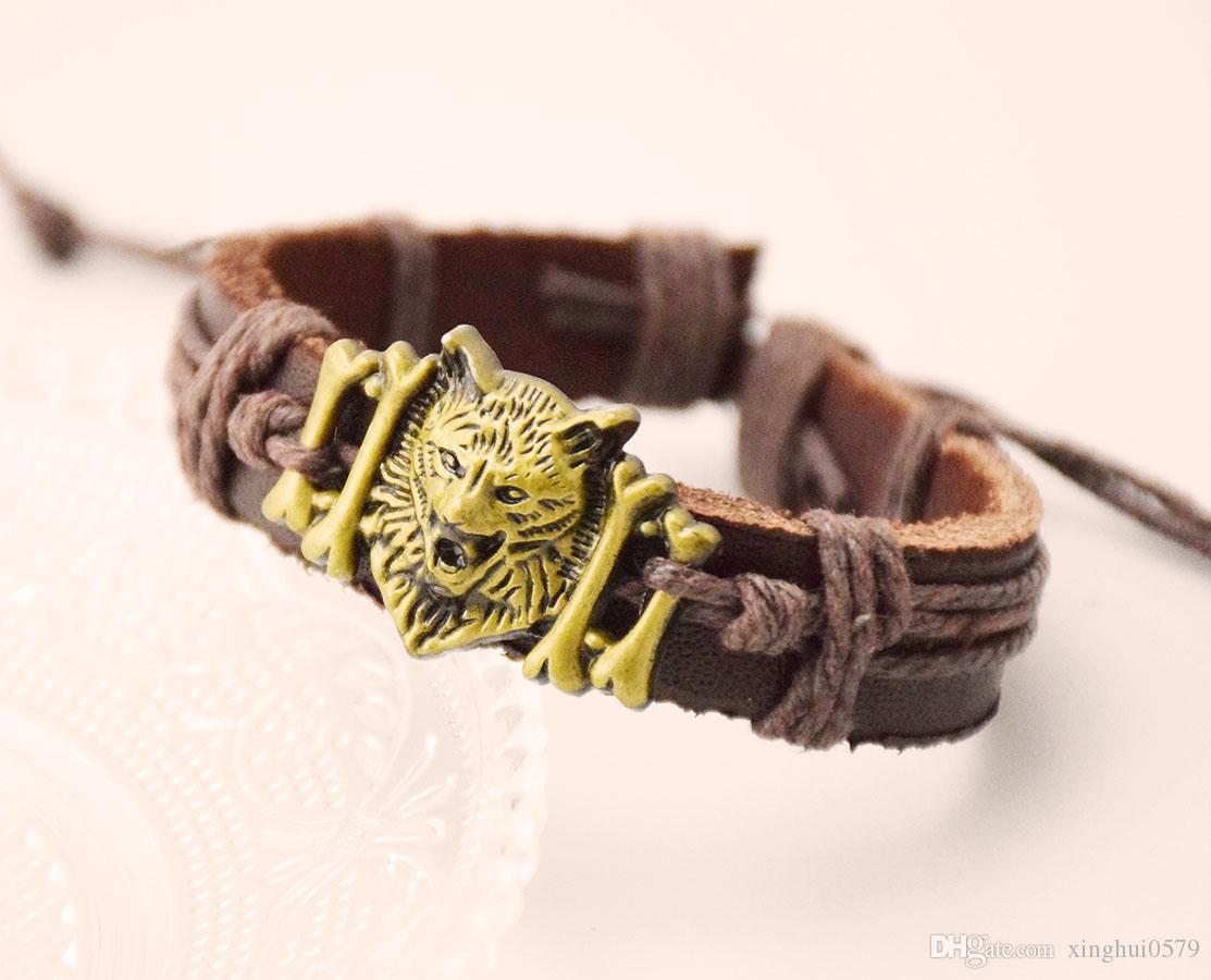 الرجل القهوة الجلود سوار كول وولف رئيس تصميم سحر معصمه المجوهرات عطلة هدية للرجال والنساء شحن مجاني