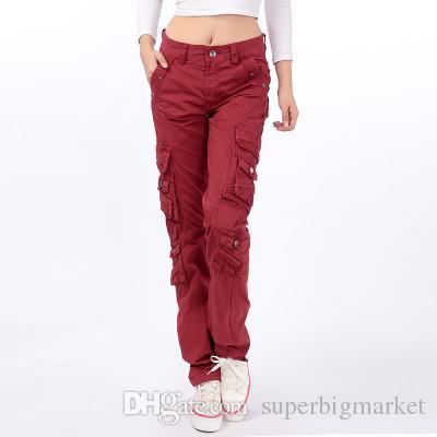 Le donne all'aperto escursionismo sportivo indossano pantaloni da carico rossi pantaloni da donna multi-tasche da donna Pantaloni casual Plus Size 3