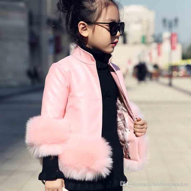 2017 neue Herbst Winter Rollkragen Mädchen Parka Baumwolle Gepolsterte Mode Jacke Kunstleder Pelz Dekoration Mädchen Kleidung 3 Farben