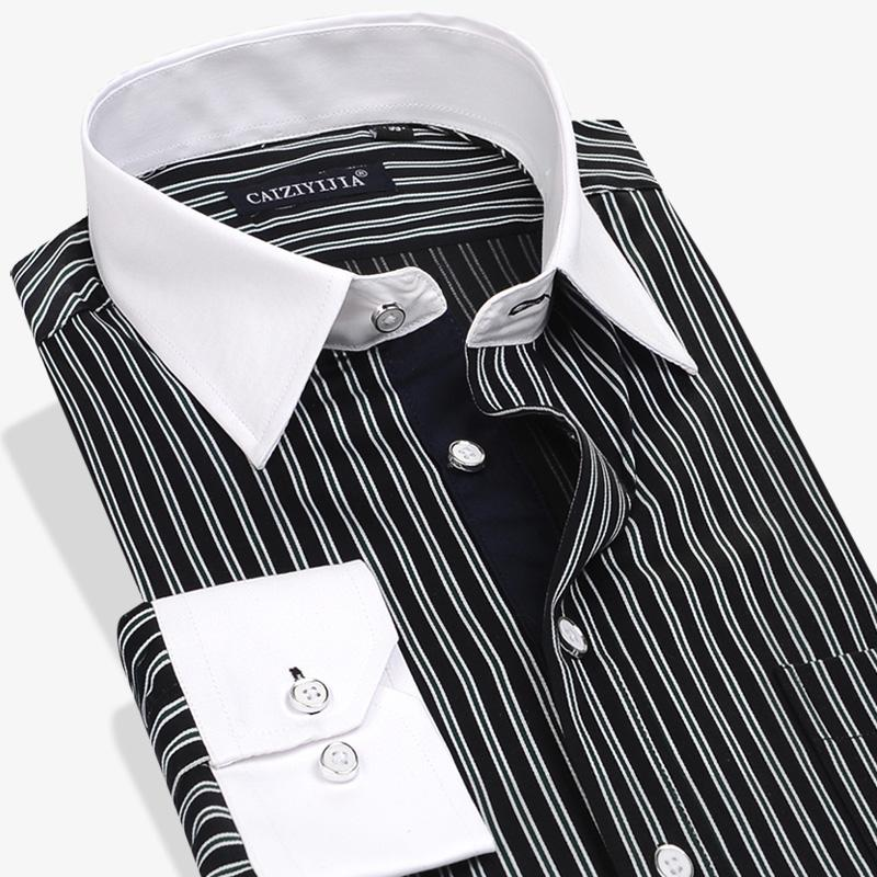 59e124f5956 2019 Wholesale Mens Cotton Shirts Black White Striped Long Sleeve Dress  Shirt Spring Autumn Men Dress Shirts Business Formal Casual Shirts From  Blueberry16