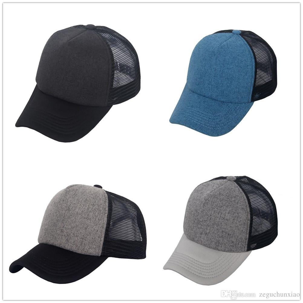 983ddb864fcfa Wholesale-Good Quality 5 Panel Cap Blank designer Baseball cap Trucker  Fitted Mesh Hat Snap back Unisex Plain sports Cap Adjustable Hot Sale