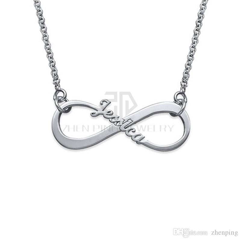 Personalized Single Name Infinity Nameplate Necklace 316 Stainless Steel Pendant with the Custom Name Jewerly Necklace
