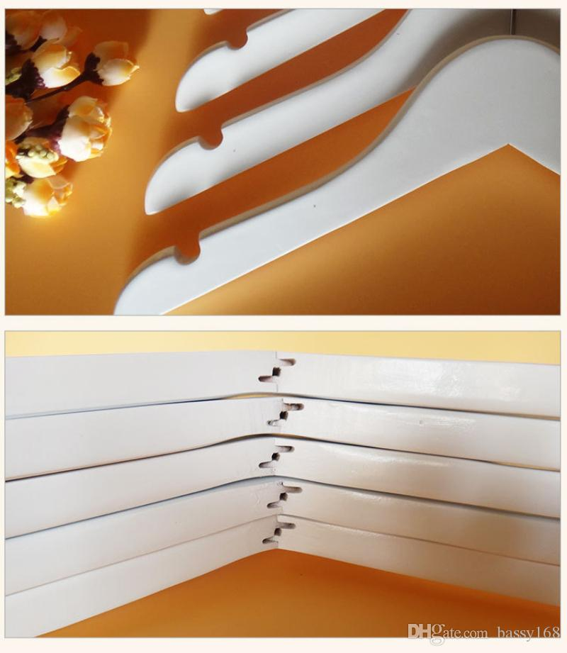 Good Solid Wood Hangers with Anti-slip Wooden Hanger White Color for Kids Babies Clothes Coat Tops 30cm