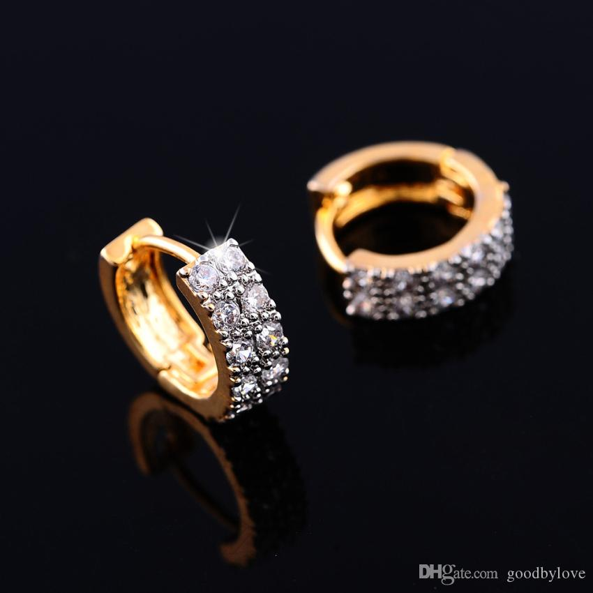 Double Rows Crystal Paved Yellow Gold Plated Small Hoop Huggie Earrings Fashion Party Costume Jewelry for Women Gift