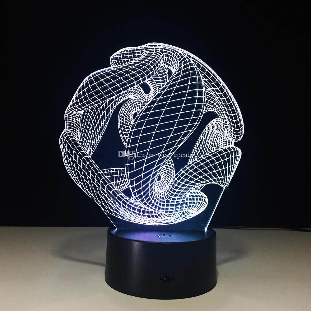 3D Illusion Ball Lamp Night Light DC 5V USB Charging 5th Battery Wholesale Dropshipping Retail Box