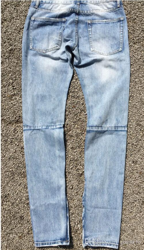 FOG men Selvedge zipper destroyed skinny slim fit Vintage ripped blue denim jeans Wholesale-Best version