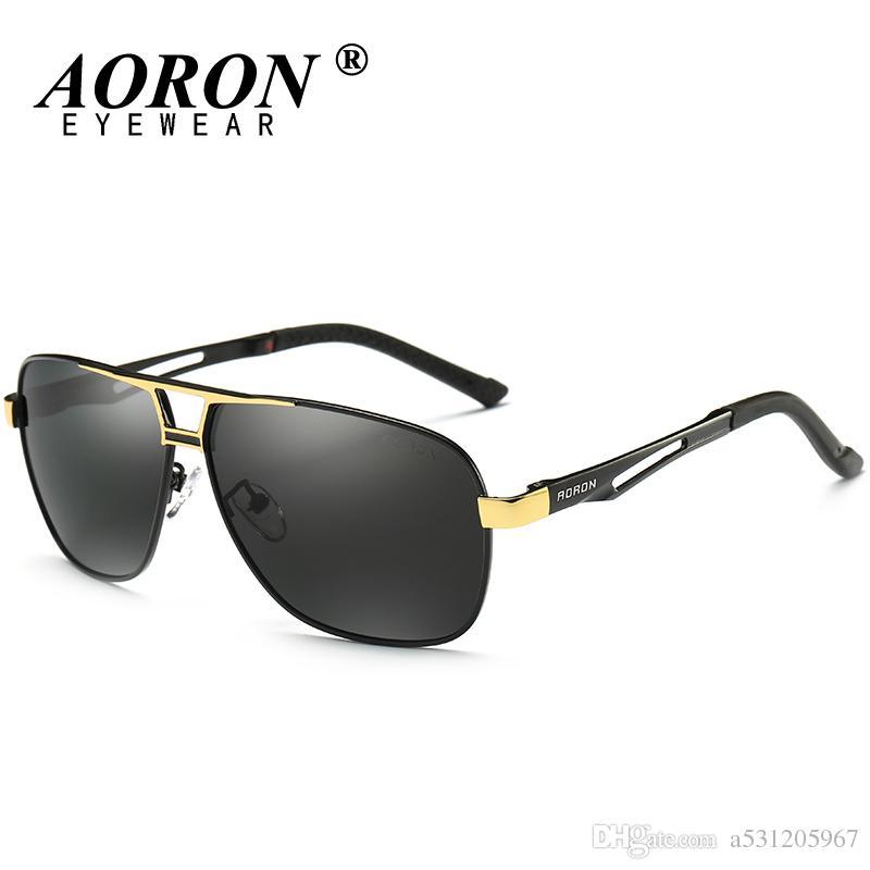 1e0b466239 AORON Polarized Sunglasses Mens Luxury Brand LOGO Original Box ...