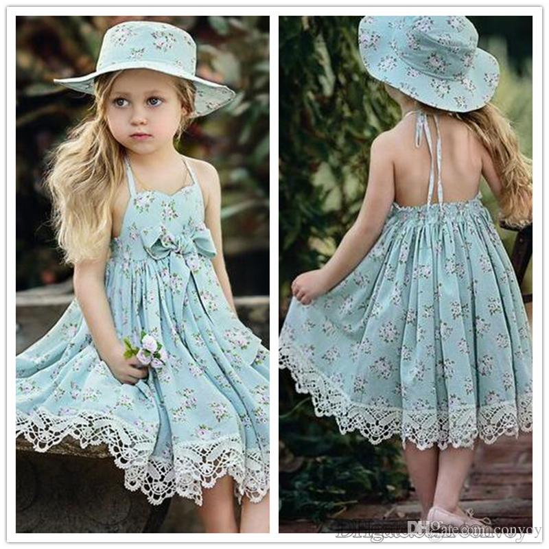55b4e5eeb67 2019 2017 Girls Summer Dresses Kids Floral Bowknot Dress Children Girls Cute  Lace Beach Skirt Backless Halter Drawstring Dress KD18 From Convoy