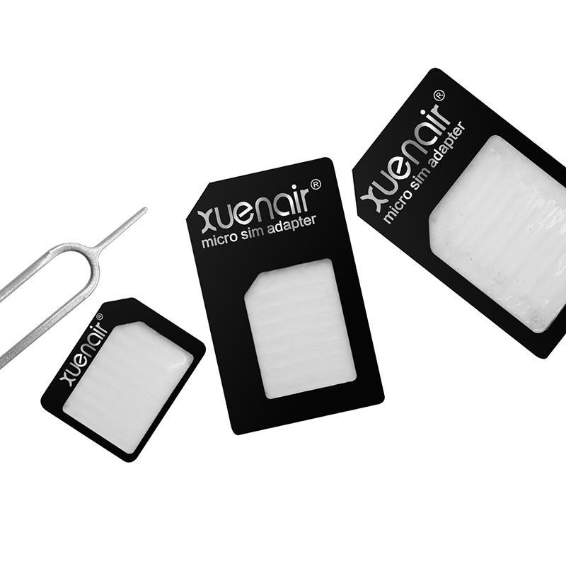 Xuenair 4 in 1 Mobile Phone Nano SIM Card Micro Standard SIM Card Adapter SIM Card Tool Set Eject Pin For iOS Android