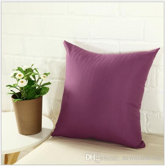 Popular cushion case square small pillow cover 40*40 cm plain candy color durable zipper polyester material soft touch comfortable
