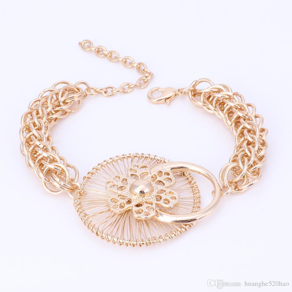 Mode Nigerianischen Perlen Hochzeit Schmuck-Set Braut Dubai Gold Farbe Kristall Halskette Ohrring Sets Afrikanische Perlen Schmuck-Set