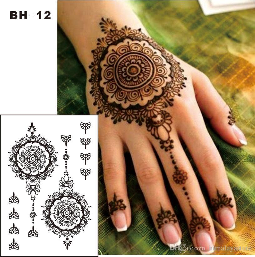 Bh 12 Black Henna Temporary Tattoo For Hands Inspired Body Stickers