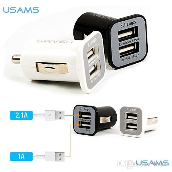 3.1A USAMS dual port usb carregador de carro 5 V 3100 mah para iPhone ipad ipod samsung htc 100 pçs / lote