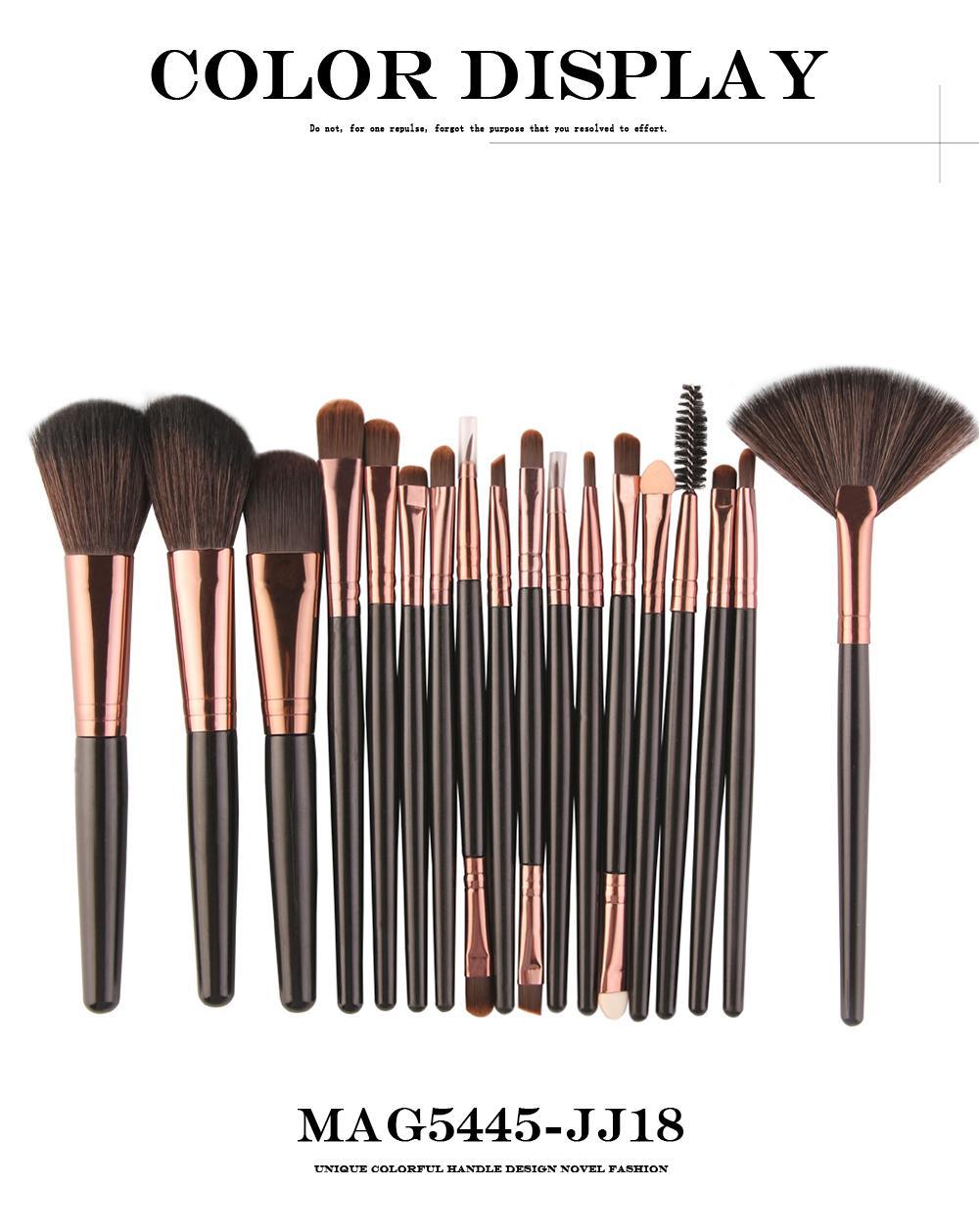 18 Unids / pack Pinceles de Maquillaje Conjunto de Herramientas Cosmético Base de Sombra de Ojos Blush Blending Beauty Make Up Brush Maquiagem DHL GRATIS