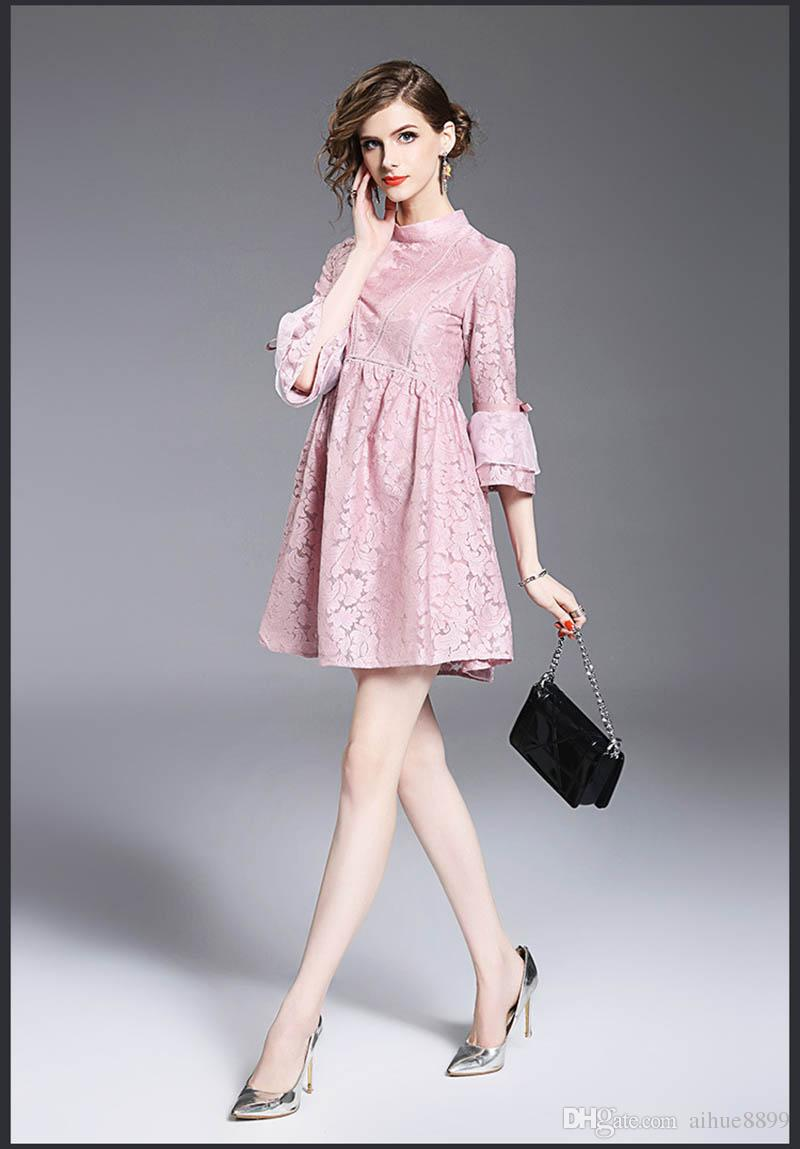 Cute Women Dress Summer Style 2017 Elegant Pink Pretty Party Dress for women Size S~XL Half Sleeve Lace Dress O-Neck A Word Vestidos