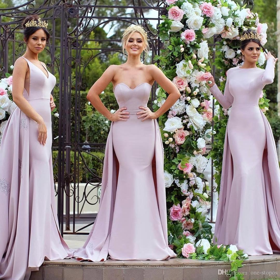 2017 moda Blush Pink sirena vestidos de baile con Overskirt tren 3 estilos mezclados por encargo delgado formal largo de noche Celebrity Party Gowns