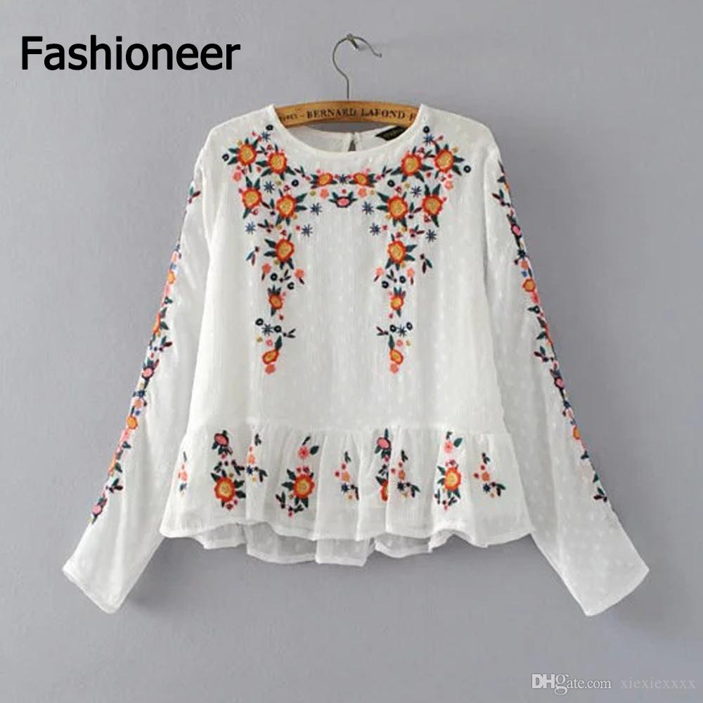 1db5853b528b2 2019 Fashioneer Women S Girl S O Neck Chiffon Shirts Blouse Embroidery  Floral Long Sleeve Vintage Elegant Tops Clothes For Woman Lady From  Xiexiexxxx