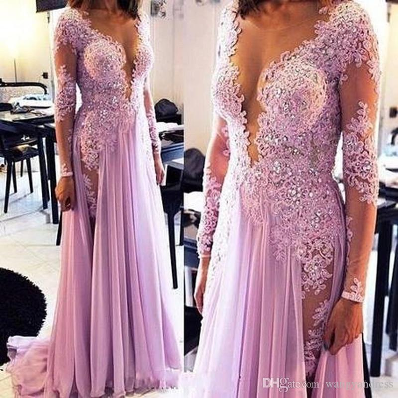 Sexy See Through Applique Lace Evening Dresses Illusion Deep V-neck Long Sleeves Mermaid Prom Dress Lavender Chiffon Special Occasion Dress