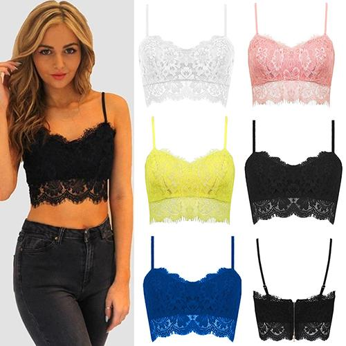 0ad5464a4b6e8 2019 Wholesale New Arrival Women S Fashion Lace Floral Unpadded Zipper  Bralette Bra Bustier Cami Tank Tops From Derricky