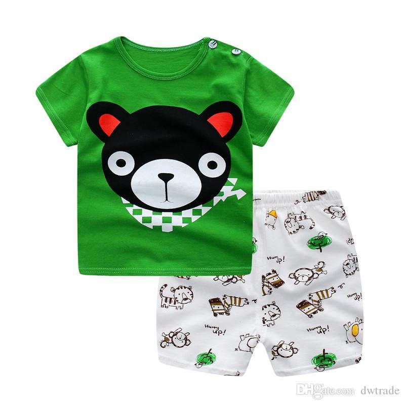 Conjuntos de ropa de verano para bebés Boy Girl camiseta de manga corta Pantalones cortos Kids Casual 2 piezas traje Cute Bow Shorts 2017 niños ropa