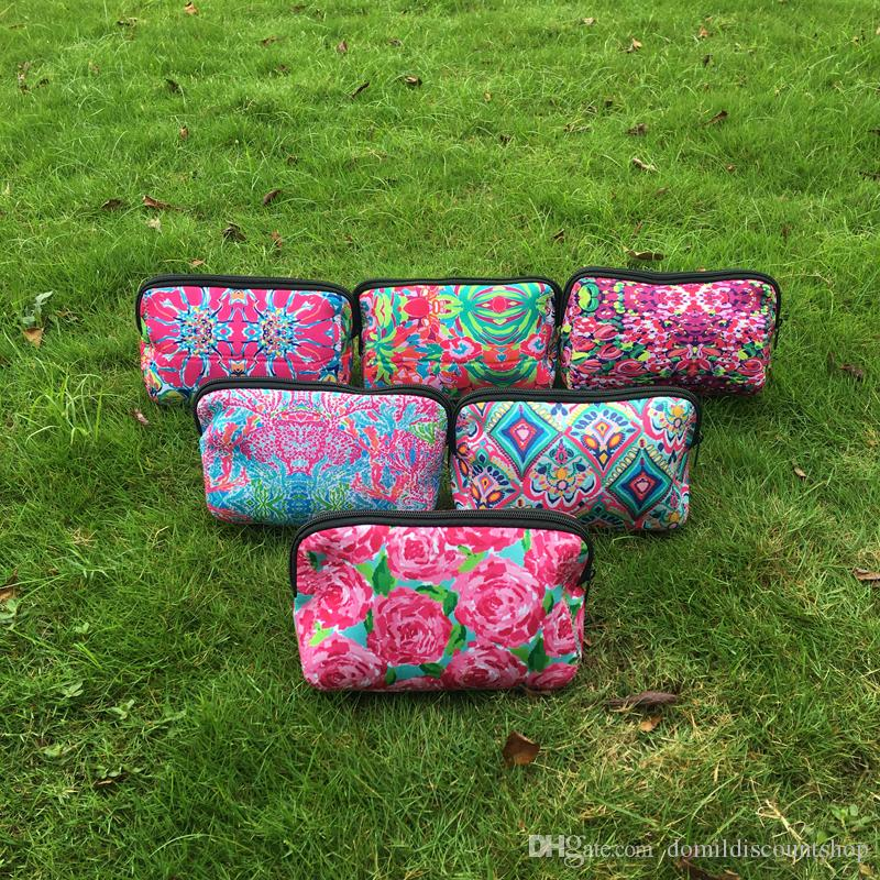 Wholesale Blanks Neoprene Lilly Clutch Crown Jewel Rose Confetti Coral Printing Cosmetic Bag DOM103529