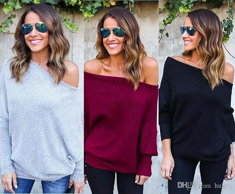Autumn Women Sexy Tops Series Off Shoulder Top Tees Knitted Thin Sweater  Tees Autumn Casaul T Shirt Women Shirts With Designs R Shirt From Huiwu fd57c579e
