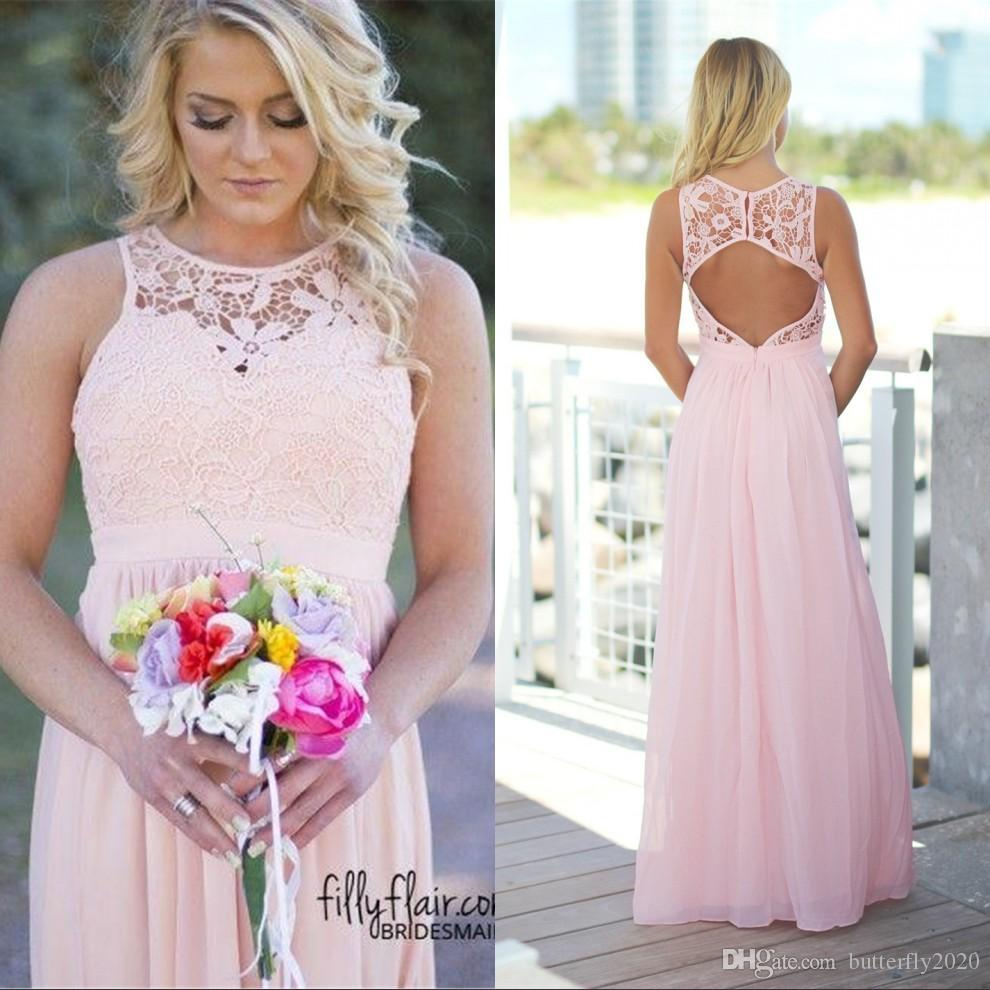 Sexy long light pink lace beach bridesmaid dresses crew neck sexy long light pink lace beach bridesmaid dresses crew neck hollow back cheap chiffon bridesmaids dress cheap plus size wedding party gowns design your own ombrellifo Gallery