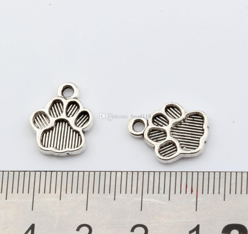 Pata de Impressão charme Liga Pingentes 200 Pçs / lote Antique prata Moda Jóias DIY Fit Pulseiras Colar 12 * 15mm