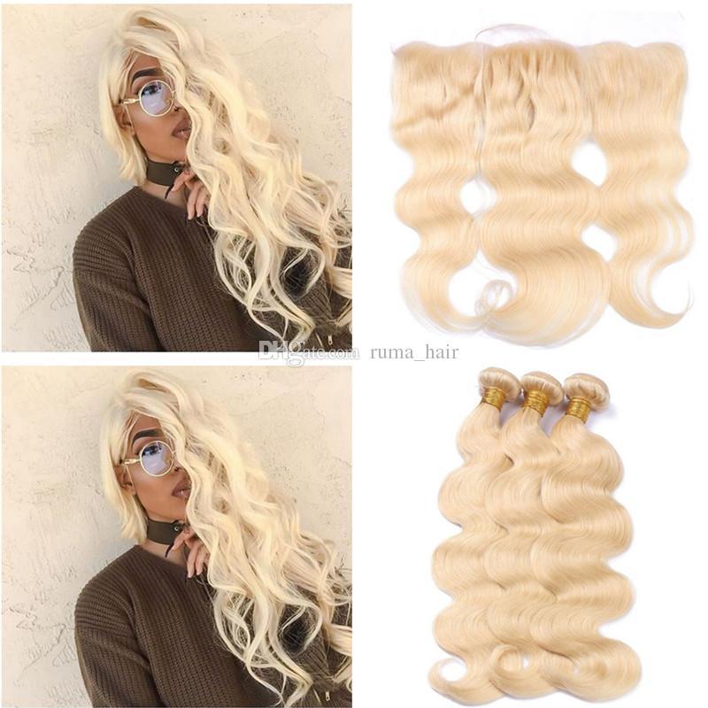 Platinum Blonde Haarbündel mit Spitze Frontal Körper-Wellen-Spitze-Stirnseite mit Bundles 613 Blonde Haar-Verlängerungen mit 13 * 4 Lace Frontal Closure