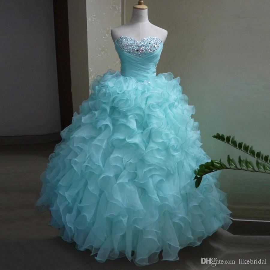 Pretty Girls Birthday Party Dress Ball Gown Perline Sweetheart azzurra Abiti Quinceanera Plus Size Ruffles Organza Abiti da debuttante