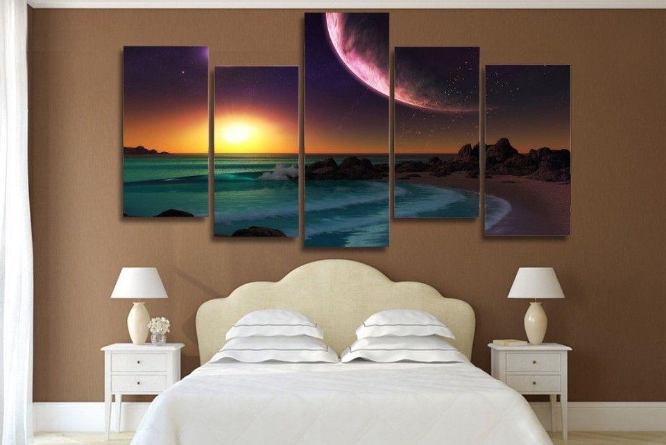 5 Unids / set HD Impreso Púrpura Planeta Océano Artístico Paisaje Imagen Arte de la Pared Impresión de la Lona Decoración de la Habitación Cartel de la Lona Pintura Arte
