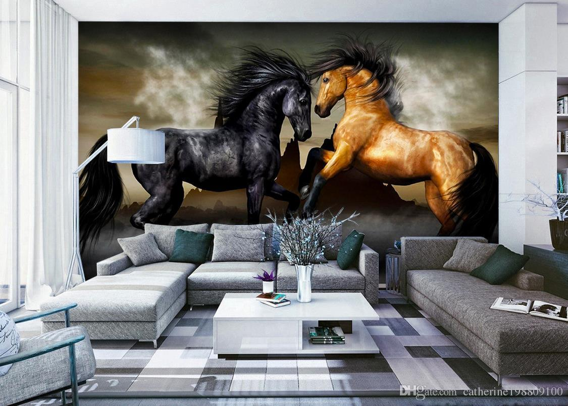Home Decor Natural Art Background Wall Painting Horses 3d Murals