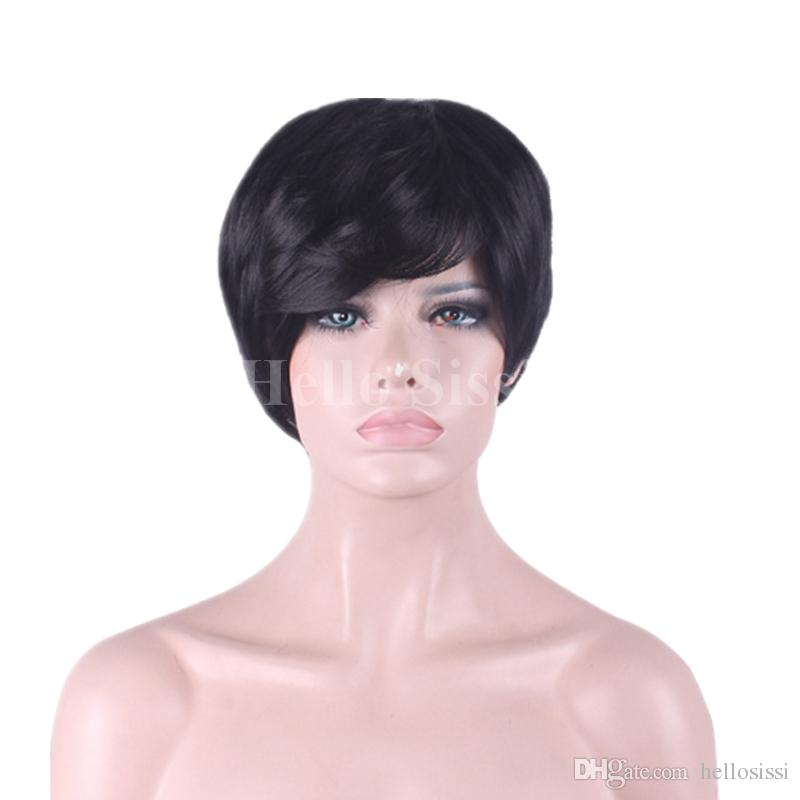 None lace wig human hair pixie cut bob cut hairstyles for black ladies with baby hair very short non full lace wig