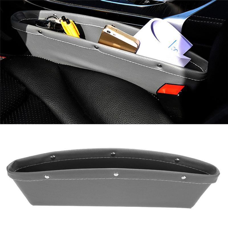 Couro PU Catcher Catcher Box caddy assento de carro Slit Gap bolso de armazenamento caixa de luva organizador Slot Box couro para livros / telefones / cartões