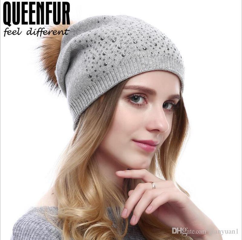 4881117492e80 New Knitted Cashmere Skull Caps Autumn Winter Ladies Fashion Hair Ball Cap  With Rhinestone Warm Headgear Headwear Beanies For Men From Jianyuan1