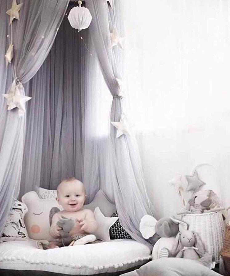 2017 New Summer Baby Mosquito Net photography props Kids Tent Cotton Gauze Hung Room Decoration Bed Canopy Curtain Round Crib Netting 240cm