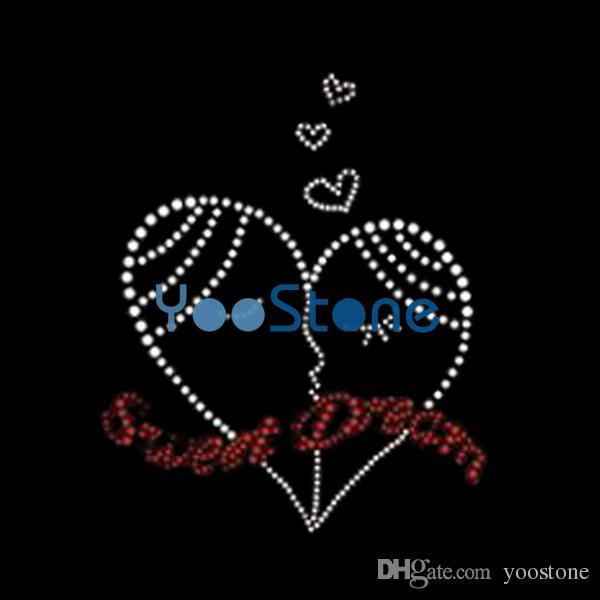 Wholesale Love Sweet Heart Rhinestone Iron On Transfers Hotfix Motif ... 896838d64850
